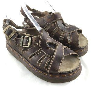 Dr Martens fisherman sandals brown ankle strap VTG